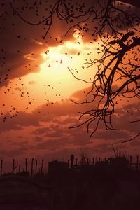 Birds Flying Dawn Time Fantasy Artwork