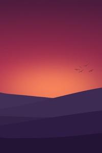Birds Flying Towards Sunset Landscape Minimalist 4k