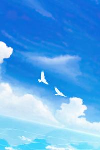 720x1280 Birds In Blue Horizon 4k