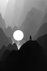 Black And White Moon Man Standing On Mountain Artwork