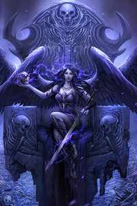 Black Angel Sitting On Throne 4k