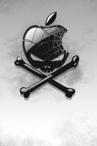 1080x1920 Black Apple Skull