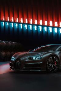 2160x3840 Black Bugatti Chiron 2020