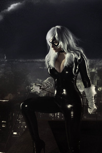 1125x2436 Black Cat Marvel Cosplay