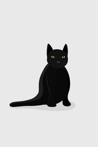 1440x2960 Black Cat Minimal 5k