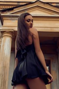 Black Clothing Girl Looking Back 4k