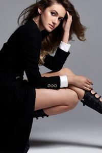 1280x2120 Black Dress Model Posing For Magazine Cover Shoot