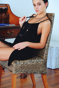 320x480 Black Dress Sitting On Chair Photoshoot