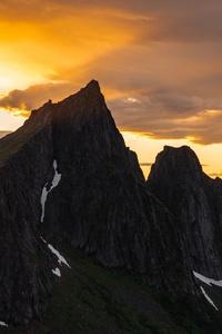 1125x2436 Black Gray Mountains 5k