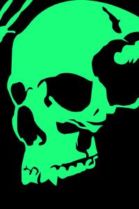 640x960 Black Green Skull Minimalist