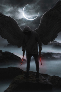 1242x2688 Black Hoodie Boy Angel 4k