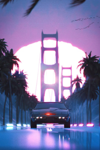 640x1136 Black Knight Rider Car Vaporwave 5k