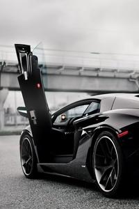 Black Lamborghini Aventador Doors Up
