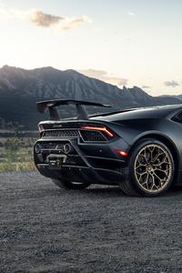 1080x2160 Black Lamborghini Huracan 2020 Rear