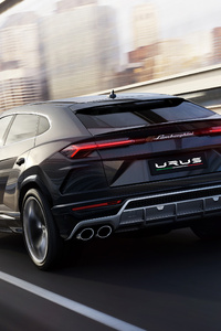 Black Lamborghini Urus Rear Side 2018