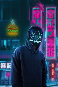 1242x2688 Black Mask Hoodie Boy In City 4k