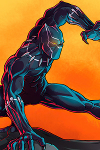 320x568 Black Panther Digital Paint Art 4k