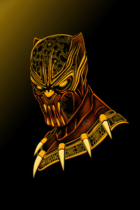 1080x2160 Black Panther Gold Minimal 5k