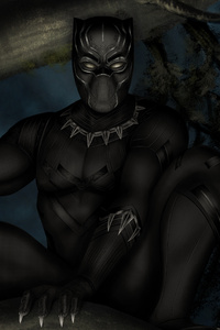 Black Panther In Night Artwork