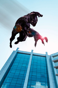Black Panther Jumping From The Building