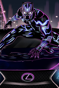 1440x2560 Black Panther Lexus Artwork