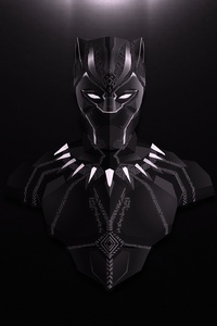 1242x2688 Black Panther Lowpoly Minimalist