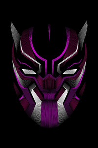 Black Panther Mask Minimalism 4k