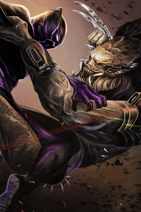 Black Panther Vs Predator Illustration