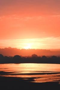 1242x2688 Black Sand Clouds Evening Ocean 5k