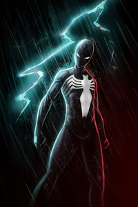 1440x2960 Black Spiderman Lightning 4k