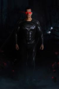 720x1280 Black Suit Superman Red Glowing Eyes 4k
