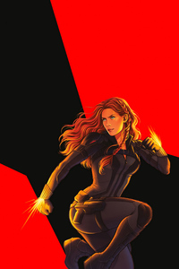 1125x2436 Black Widow 2020 Sketch Art