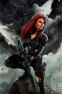 720x1280 Black Widow 4k Art