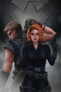 360x640 Black Widow And Hawkeye