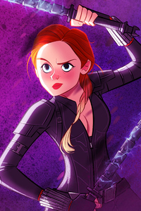 Black Widow Avengers Endgame Cartoon Art 4k