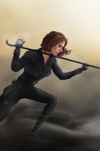 320x568 Black Widow Catwoman Art
