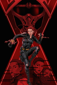 1440x2560 Black Widow Comic Art 4k