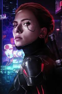 1080x2160 Black Widow Cyborg 4k