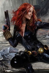 640x1136 Black Widow Firing Artwork