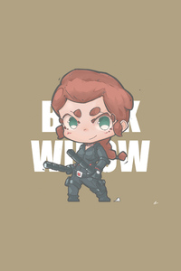 1125x2436 Black Widow Minimal Chibbi 4k