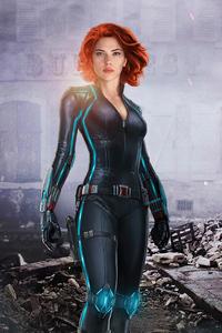 1125x2436 Black Widow Red Hair 4k