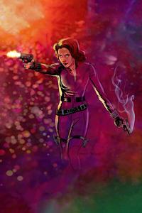 1080x2280 Black Widow Shooting With Two Guns 4k