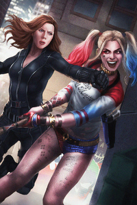 1080x1920 Black Widow Vs Harley Quinn