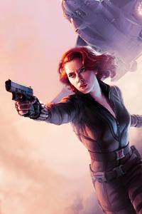 Black Widow With Gun Artwork