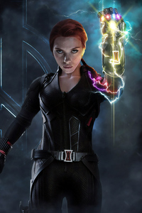 1080x1920 Black Widow With Infinity Gauntlet