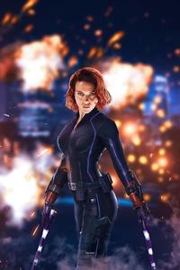 320x480 Black Widow With Lightsaber 5k
