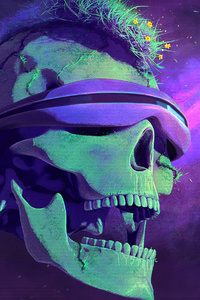 1080x2280 Blindfold Skull Art 4k