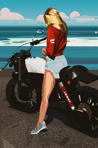 Blonde Biker Girl Minimal Art