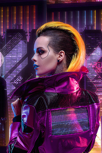 480x800 Blonde Cyberpunk Girl