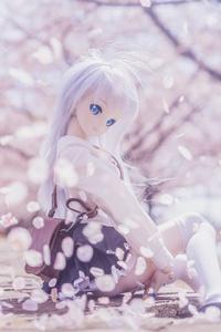 Blonde Doll Sitting Sakura 4k